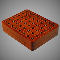 Antique Inlaid French Wood Box with Dot Pattern