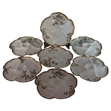 6 Antique Haviland Limoges Oyster Hand Painted Plates 19 c.Plus one