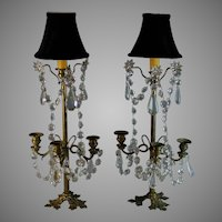 Set of Antique Brass and Crystal Candelabra Lamps