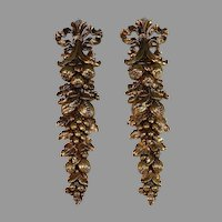 Pair Gilded Vintage Syroco Wood Ornaments