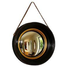 Mid Century Modern Convex Mirror with Hanging Chain