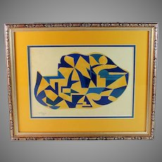 Vintage French Abstract Gouache on Paper Painting