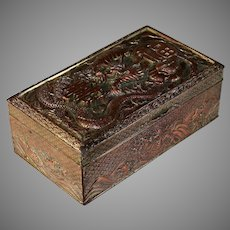 Antique Silver Plate Chinese Lucky Dragon Dresser Box
