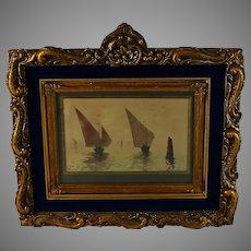 """French School Water Color Painting Title """"Sur La Lagune -Venise"""" Signed"""