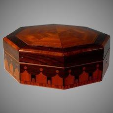 Antique Inlaid French Octagonal Wood Dresser Box