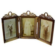 Antique French Triple Bronze Napoleon III Photo Frame