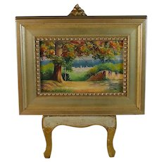 French Miniature Landscape Oil Painting signed J. Billard