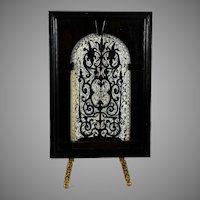 Carved Antique Plaque in Custom Wood Frame
