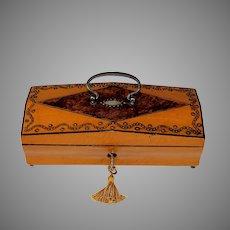 Palais Royal Satin Wood Keepsake Box with Mulberry Inlay and Key