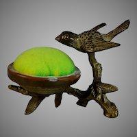 Antique Bronze Bird Green Pin Cushion