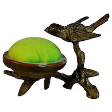 Antique Bronze Bird Green Pin Cushion