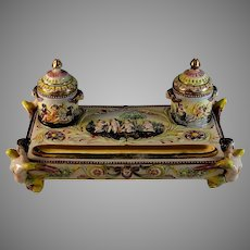 Antique Capodimonte Style Porcelain Inkwell With Putti and Nymphs