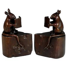 Vintage Bronze Reading Mice Bookends