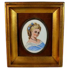 Antique Hand Painted Porcelain Plaque of a Young Blonde Girl Fine Details