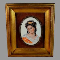 Antique Hand Painted Porcelain Plaque of a Young Brunette Fine Details