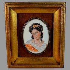 Antique Hand Painted Porcelain Plaque of a Young Brunette Fine Details