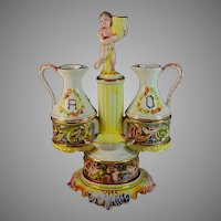 Vintage Capodimonte Oil and Vinegar Stand With Putti
