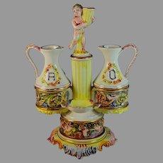 Vintage Capodimonte Oil and Vinegar Stand With Putti