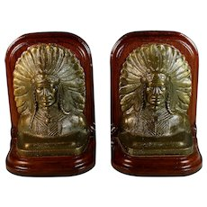 Set of Indian Chief Bronze & Wood Bookends Felted