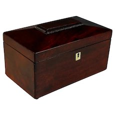 Antique English George III Mahogany Tea Caddy Circa 1800