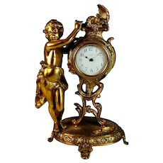 Vintage New Haven Gilded Bronze Shelf Clock with Putti, Works