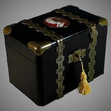 Napoleon III Black Lacquer Dresser Box with Medallion and Key