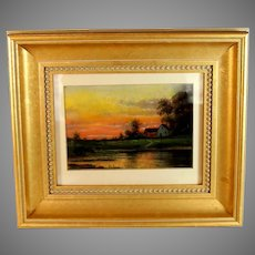 Luminist Pastel Sunset Landscape Painting signed