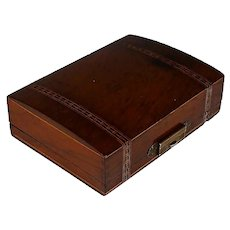 Antique Inlaid Wood Watch Box or Holder Porte Montre