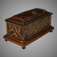 Antique French Copper Repousse Box Relief Casket