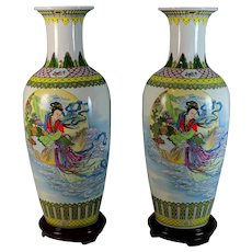 """Set of Chinese Vases 16"""" Tall On Wooden Stands. poem & scenes"""