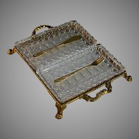 Vintage Gilded Metal Hors D'Oeuvres Tray with Cut Glass Inserts and Utensils