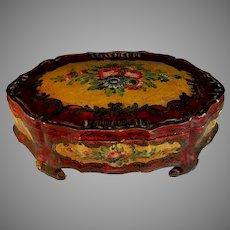 Antique Painted Wood & Gesso Bride's Wedding Box Coffret de Courtoisie