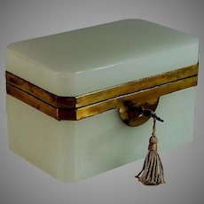 Antique French Opaline Glass and Ormolu Box with Working Key