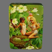 Fedoskino Russian Small Lacquer Box Signed Alexander Pyastolov Fairies in a Tree