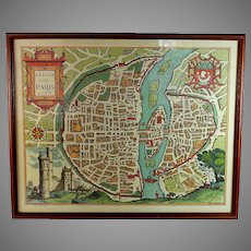 Antique Map Lutetia Vulgo Paris Anno 1575 Late 1800s Reproduction