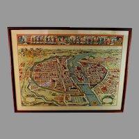 19c Map Le Plan de la Ville Cité Université Faubourgs de Paris avec la Description