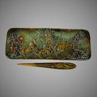 Le Verrier Bronze Pen Tray Chariot Scene with Horse Letter Opener