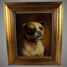 Portrait of a French Bulldog Oil Painting on Panel