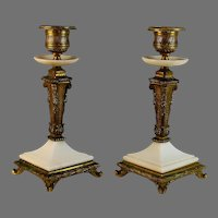 Louis Philippe Gilt Bronze and Alabaster French  Candlesticks Candleholder Set