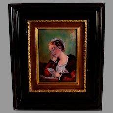 "Antique Enameled Limoges Plaque ""The Love Letter"" Signed"