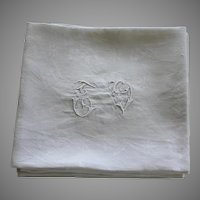 Set of 10 Antique French White Monogrammed Napkins T V