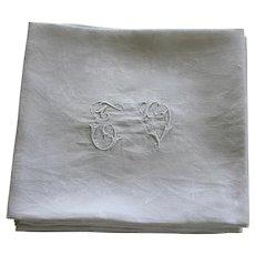 Set of 10 Antique French White Monogrammed Napkins T V