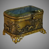 19th C French Repousse Casket Box with Beveled Glass Lid