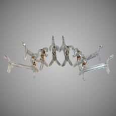 6 Vintage Murano Glass Knife Rests Dogs