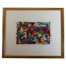 Original Abstract Acrylic on Paper Painting Italian artist Rizio Pietri (1961-)