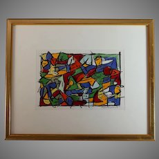 Original Abstract Acrylic on Paper Painting Italian artist Rizio Pietri (1961-)