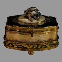 Antique French Gilded Metal Box with Glass and MOP top with Hunting Dog