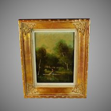 Barbizon Style Oil on Panel Painting Signed