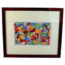 Original Abstract Painting Acrylic on Paper artist Rizio Pietri (1961-) Yellow Horse