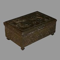 Vintage Repousse Jennings Brothers Bronze Dresser Box